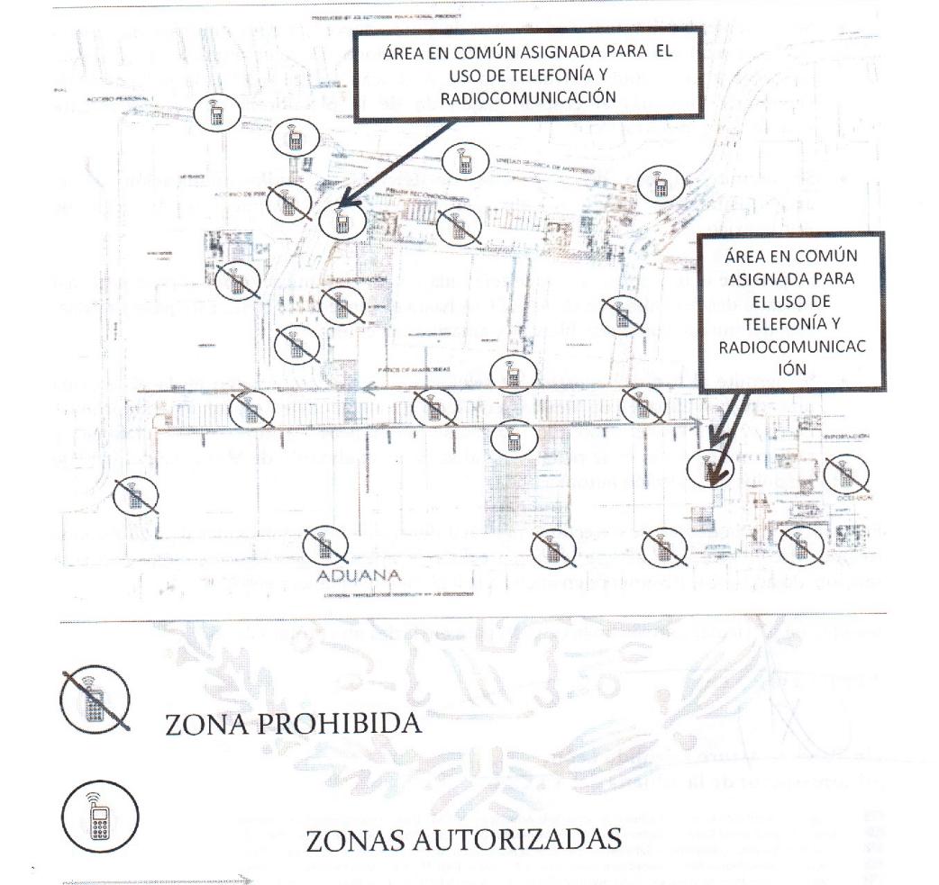 Mapa zonas restringidas para uso del celular en el AICM